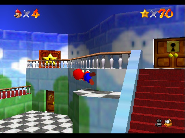 Super Mario 64 - Location Peach\ - Mario:lalala just walking on the wal Me:O-O - User Screenshot